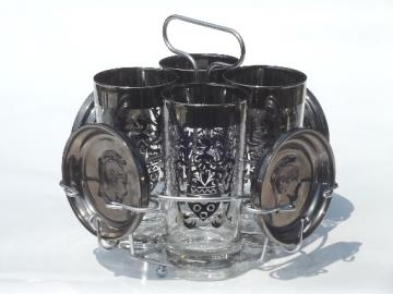 Vintage silver glass drinks glasses & coasters, Kinto roman gladiators set