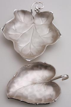 vintage silver plated leaf shape dishes, WMF Ikora & Caravelle silvery leaves