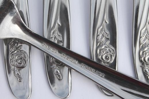 vintage silverware set for 8 roseanne oneida stainless steel flatware