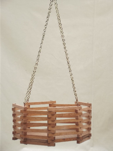 Vintage Slatted Wood Planter Box Retro Hanging
