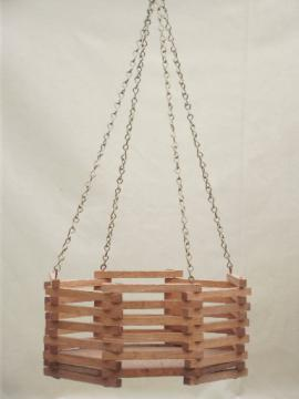 Vintage slatted wood planter box, retro 70s - 80s hanging plant basket