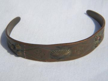 Vintage solid copper tooled bracelet,  southwest american indian design