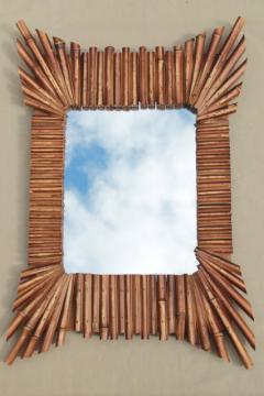 vintage south seas style bamboo starburst frame mirror, tiki hut retro!