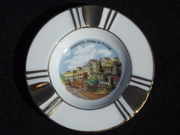 Vintage souvenir ashtray Palace at Monaco, Limoges France china