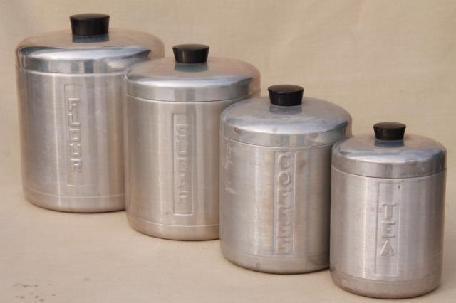 vintage spun aluminum canisters, mid-century retro kitchen canister ...