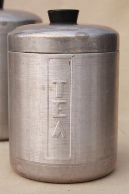 Vintage Spun Aluminum Canisters Mid Century Retro Kitchen Canister Set Made In Italy