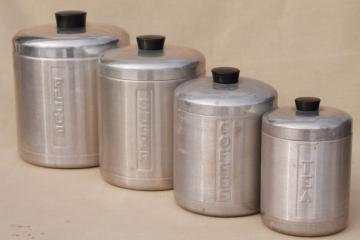 vintage spun aluminum canisters, mid-century retro kitchen canister set made in Italy