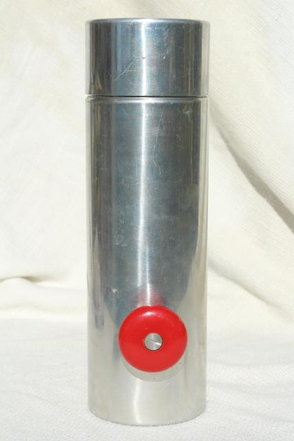 vintage spun aluminum cocktail mixer w/ red spinner handles, retro bar drinks shaker