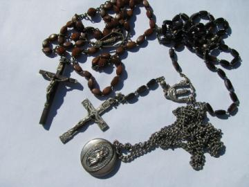 Vintage St. Christopher medal on chain, old religious jewelry rosary lot