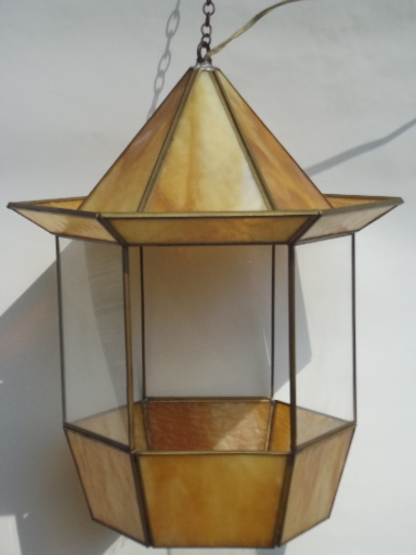 Vintage Stained Gl Hanging Lantern Light Retro Paa Shape Swag