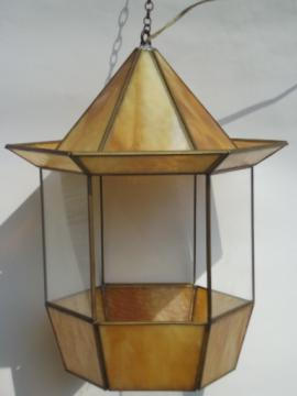Vintage stained glass hanging lantern light, retro pagoda shape swag lamp