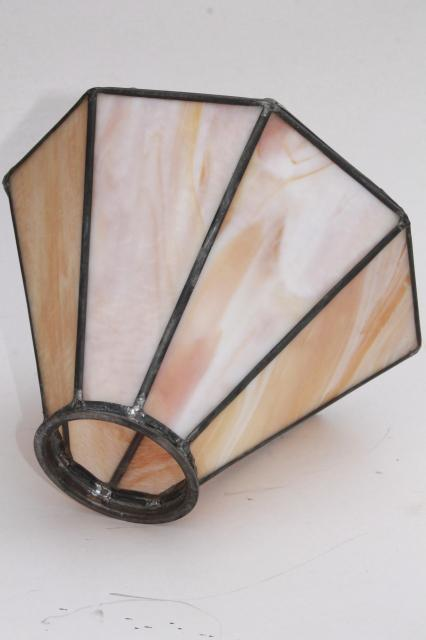vintage stained glass shade, pendant light or lampshade leaded glass caramel slag & amber
