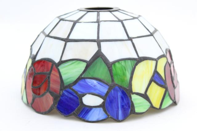 vintage stained glass shade, small lampshade multi colored leaded glass