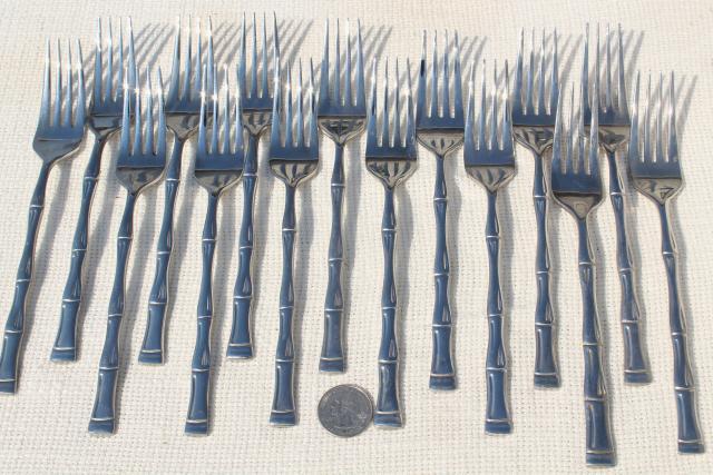 Vintage Stainless Steel Flatware Bamboo Pattern