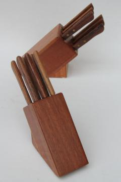 vintage steak knives in wood counter blocks, new in box knife sets w/ teak wood handles