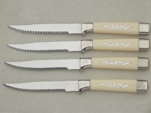 Vintage steak knives, Qwikcut & Sheffield knife sets in packages, never used