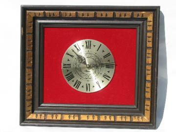 Vintage steampunk wall clock, gothic carved wood / red velvet frame