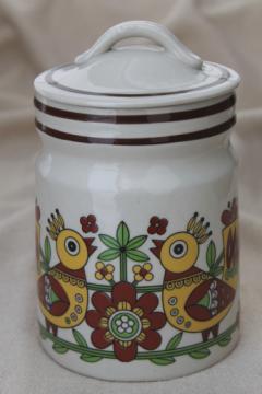 Vintage stoneware crock canister, folk art yellow birds pottery jar