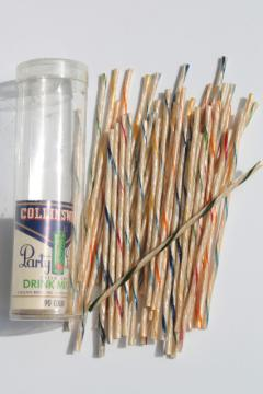 Vintage striped celluloid cocktail stirrers, Collins ware bar drink mixers in original package
