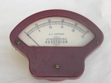 Vintage Stromberg industrial DC amps panel meter w/red bakelite case