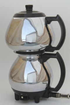 Vintage Sunbeam Coffeemaster vacuum percolator coffee pot, deco chrome coffee maker