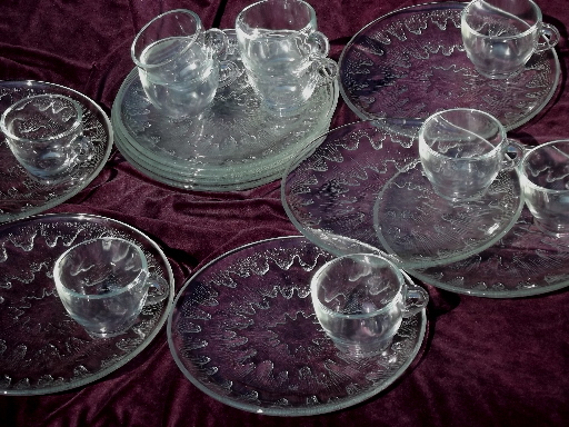 Vintage sunburst clear glass snack sets, cups and round plates for 10