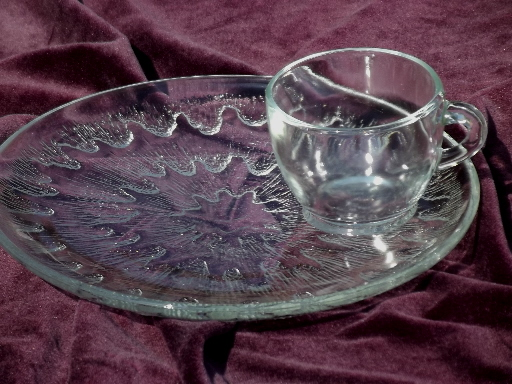 Vintage Sunburst Clear Glass Snack Sets Cups And Round