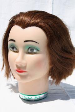 Vintage Suzie-kin mannequin head photo prop model w/ human hair, retro green eyeshadow!