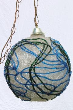 Vintage swag lamp, clear lucite plastic spaghetti string globe shade w/ blue & green