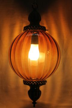 vintage swag lamp hanging light pendant lantern w/ hand blown amber glass globe shade