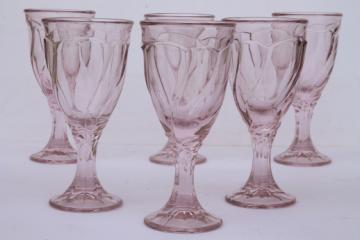 Vintage Sweet Swirl Noritake crystal pink glass wine glasses set of 6
