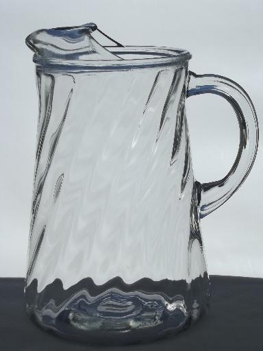 Vintage Swirl Pattern Glass Pitcher Retro Iced Tea Or