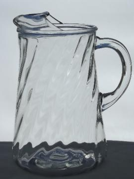 Vintage swirl pattern glass pitcher, retro iced tea or lemonade pitcher