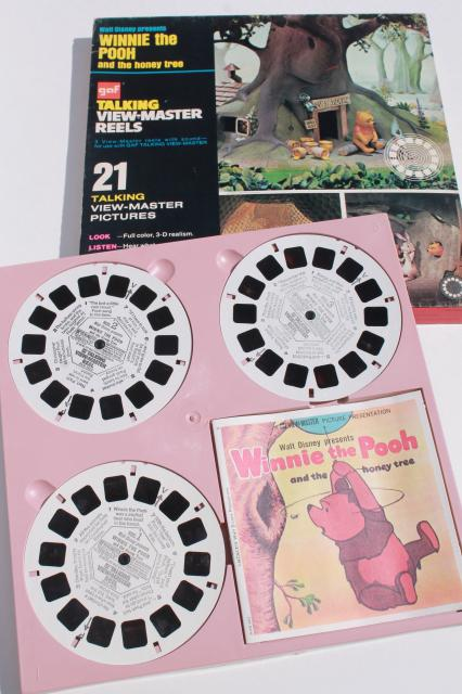 Vintage Talking Viewmaster W Reels Pooh Bambi Snoopy