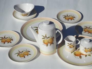 Vintage Tangerine orange ironstone china coffee pot dessert plates set