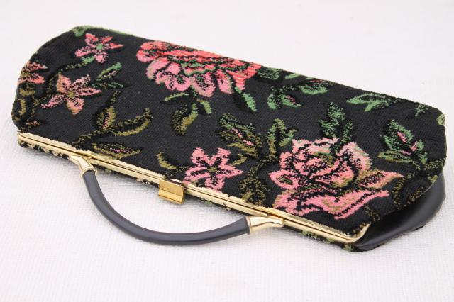 vintage tapestry fabric clutch purse / handbag for day & evening, pink & black chenille roses