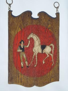 Vintage tavern pub sign wall art, plexiglass 'wood' horse & rider