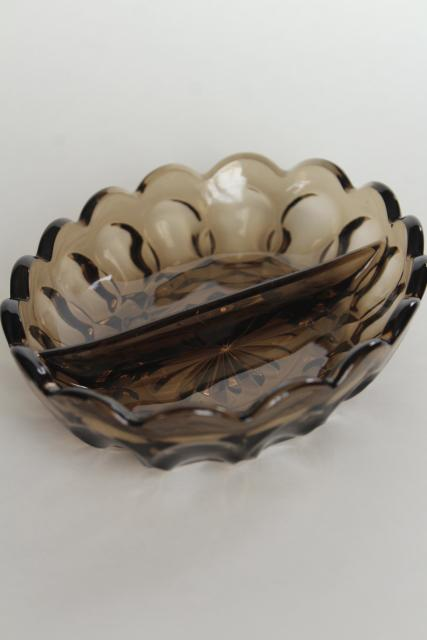 vintage tawny brown smoke glass relish dish, Fairfield Anchor Hocking divided bowl