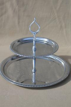 Vintage tea cake stand, shiny silver chrome two tiered sandwich plate server