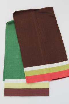Vintage tea towels or guest towels, retro color block striped linen weave towels