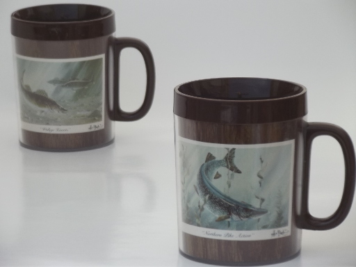 Vintage Thermo Serv Insulated Plastic Cups Fish Art Print