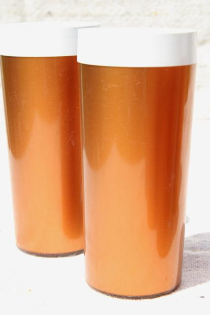 vintage thermoware type insulated plastic tumblers, tall iced tea glasses metallic copper