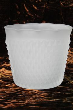 Vintage Tiara white frosted glass ice bucket, Indiana diamond point pattern glass
