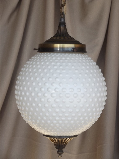 vintage tiered pendant lights set hobnail glass globes retro swag lamp style