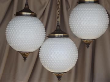 Vintage tiered pendant lights set, hobnail glass globes, retro swag lamp style!