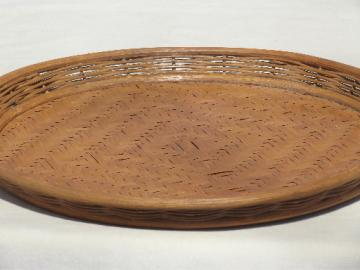 Vintage tiki style basket  tray, large round bamboo wood serving tray