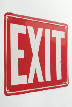 vintage tin sign, EXIT red and white metal directional sign, industrial style decor