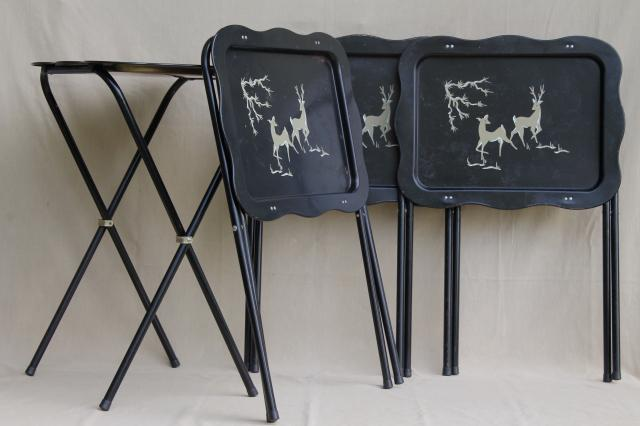 Vintage Tin Tray TV Tables, Retro Metal Folding Tables W/ Woodland Deer  Design In Grey U0026 Black