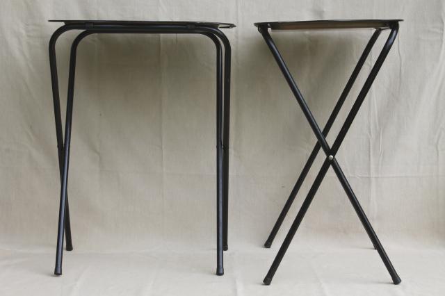 Vintage Tin Tray TV Tables Retro Metal Folding Tables W