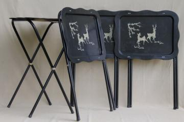 vintage tin tray TV tables, retro metal folding tables w/ woodland deer design in grey & black